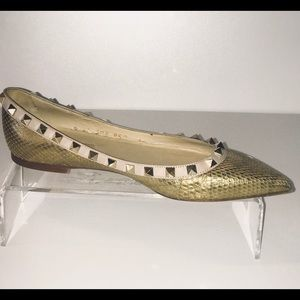 Valentino Rock Stud Metallic Gold Snake Skin Flats